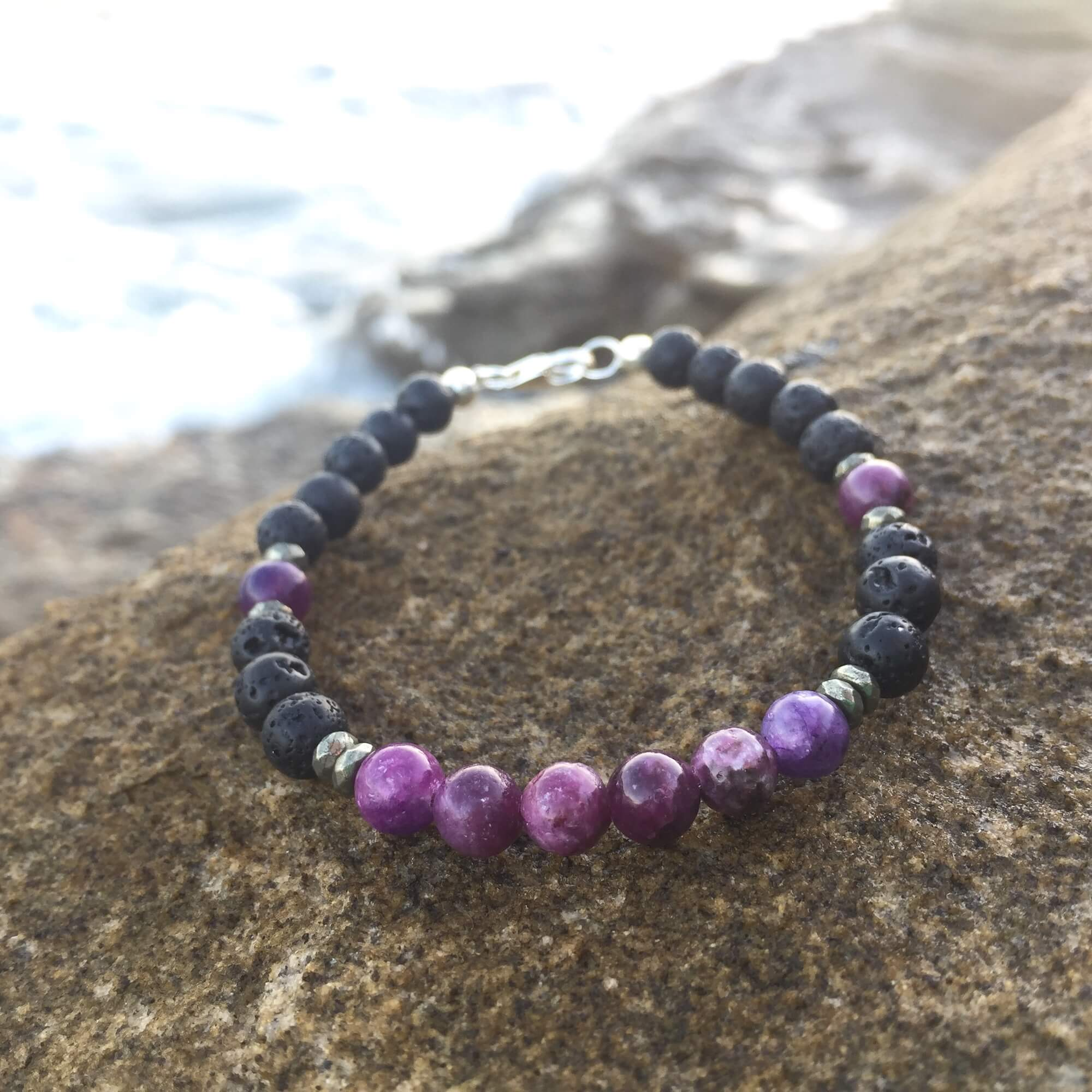 Lepidolite, Pyrite & Lava Bead Diffuser Bracelet Hand Beaded by House of Aloha Central Coast NSW Australia
