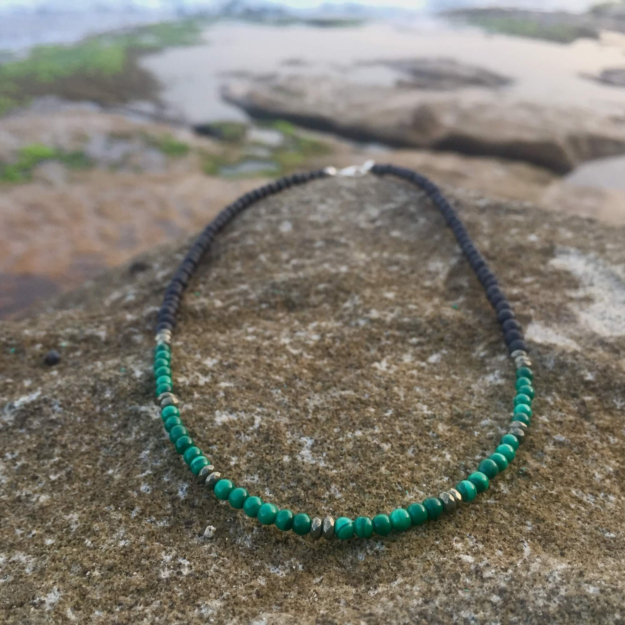 Malachite & Pyrite Essential Oil Diffuser Necklace