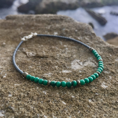 Malachite & Pyrite anklet for healing and manifestation
