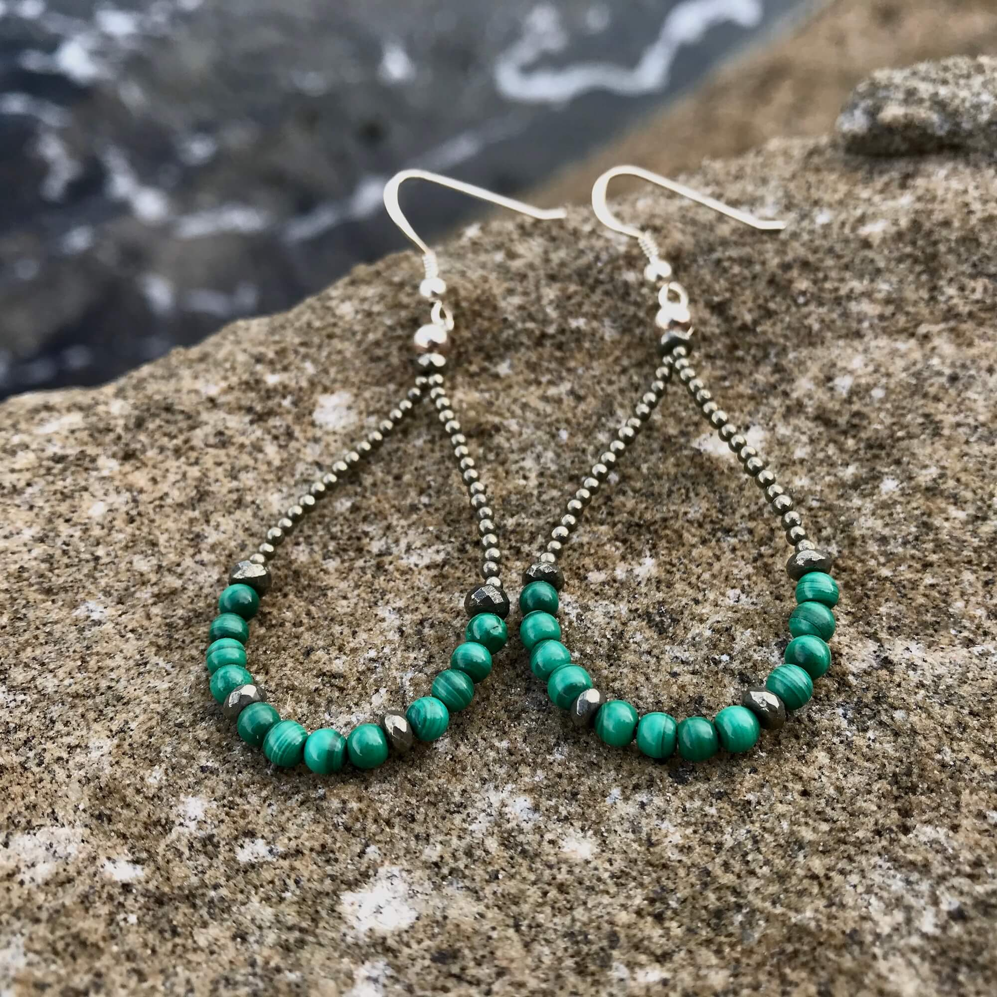 Malachite & Pyrite manifestation and healing earrings
