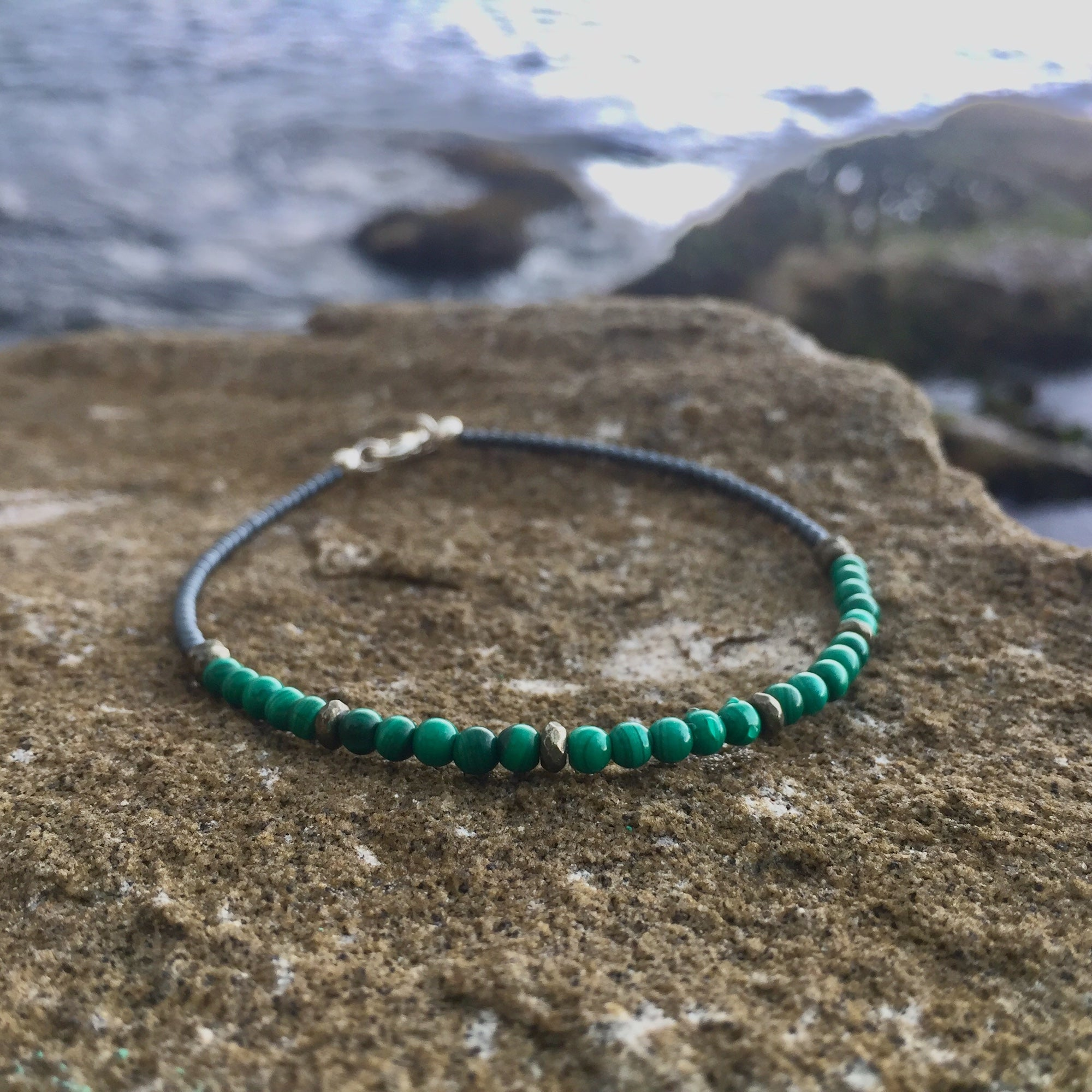 Manifestation Malachite & Pyrite anklet