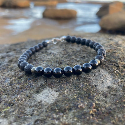 Mens Black Tourmaline Bracelet for healing