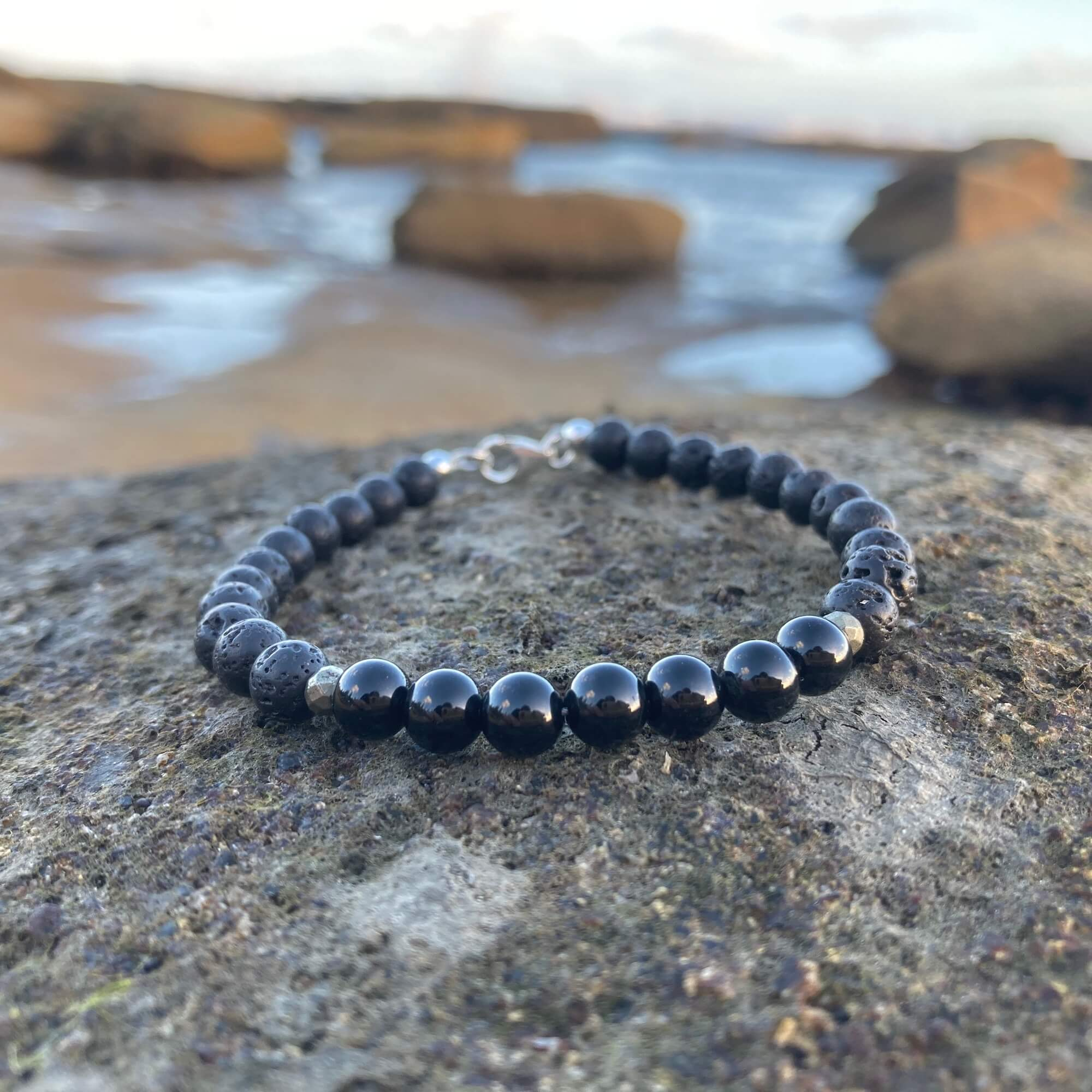 Mens Black Tourmaline crystal Bracelet