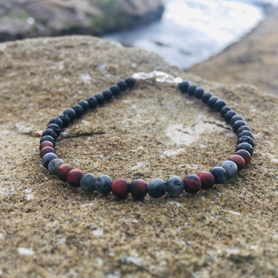Mens motivation & Confidence lava stone bracelet