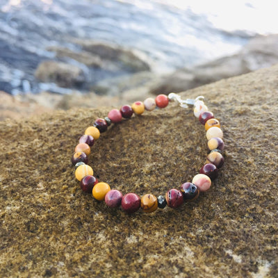 Mookaite Bracelet with Pyrite Hand Beaded by House of Aloha Central Coast NSW Australia