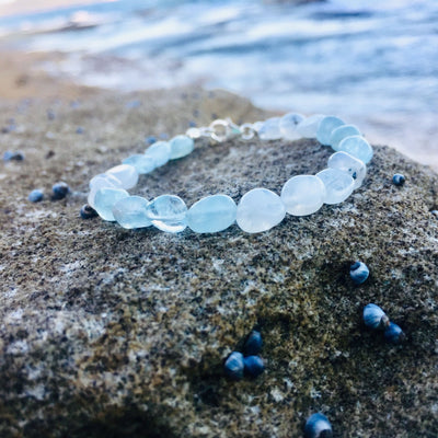 Moonstone & Aquamarine Bracelet Hand Beaded by House of Aloha Central Coast NSW Australia