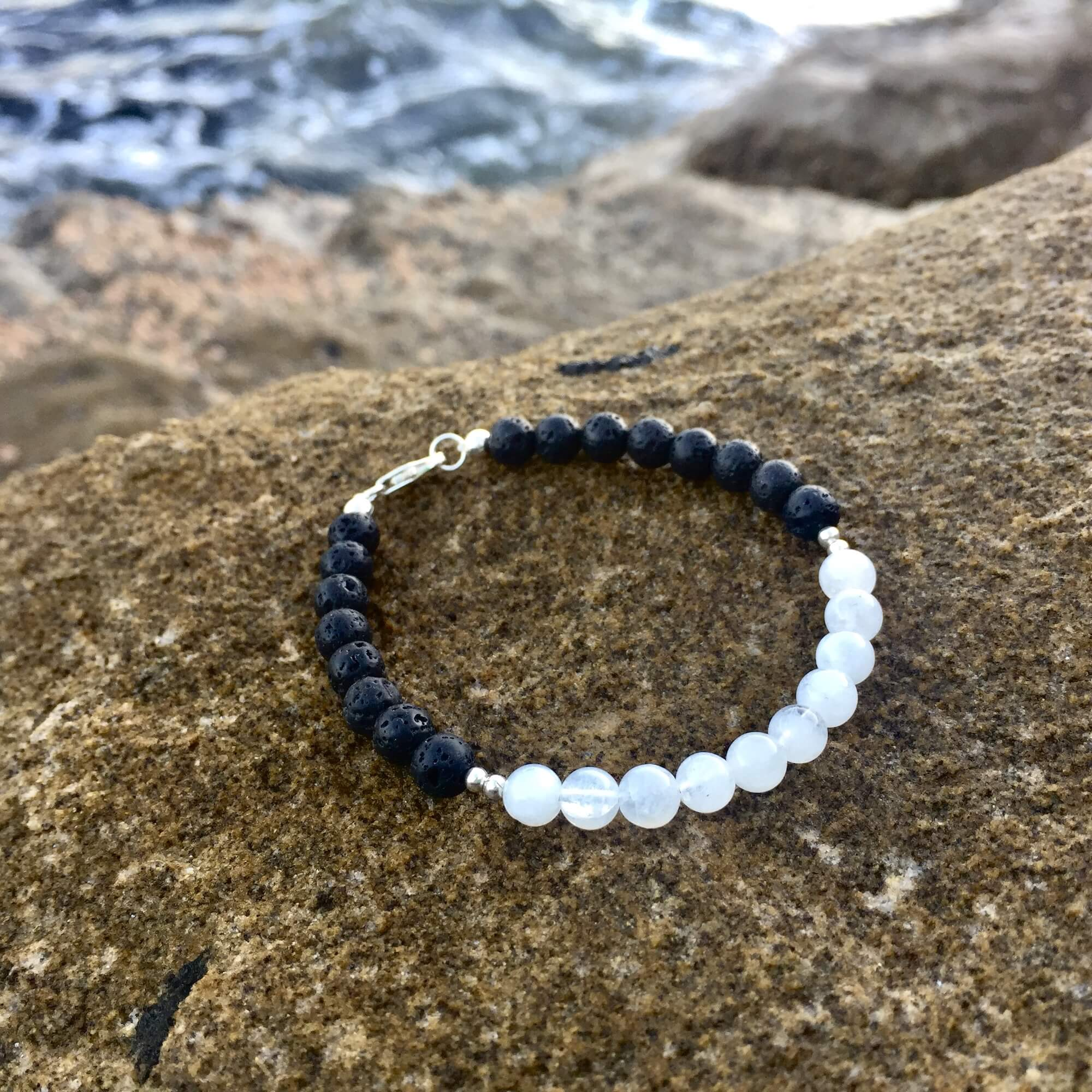 Moonstone Diffuser Bracelet La Luna Love with Lava Beads Hand Beaded by House of Aloha Central Coast NSW Australia