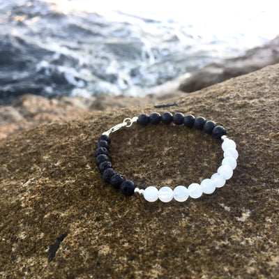 Moonstone Diffuser Bracelet La Luna Love with Lava Stone & Sterling Silver Hand Beaded by House of Aloha Central Coast NSW Australia