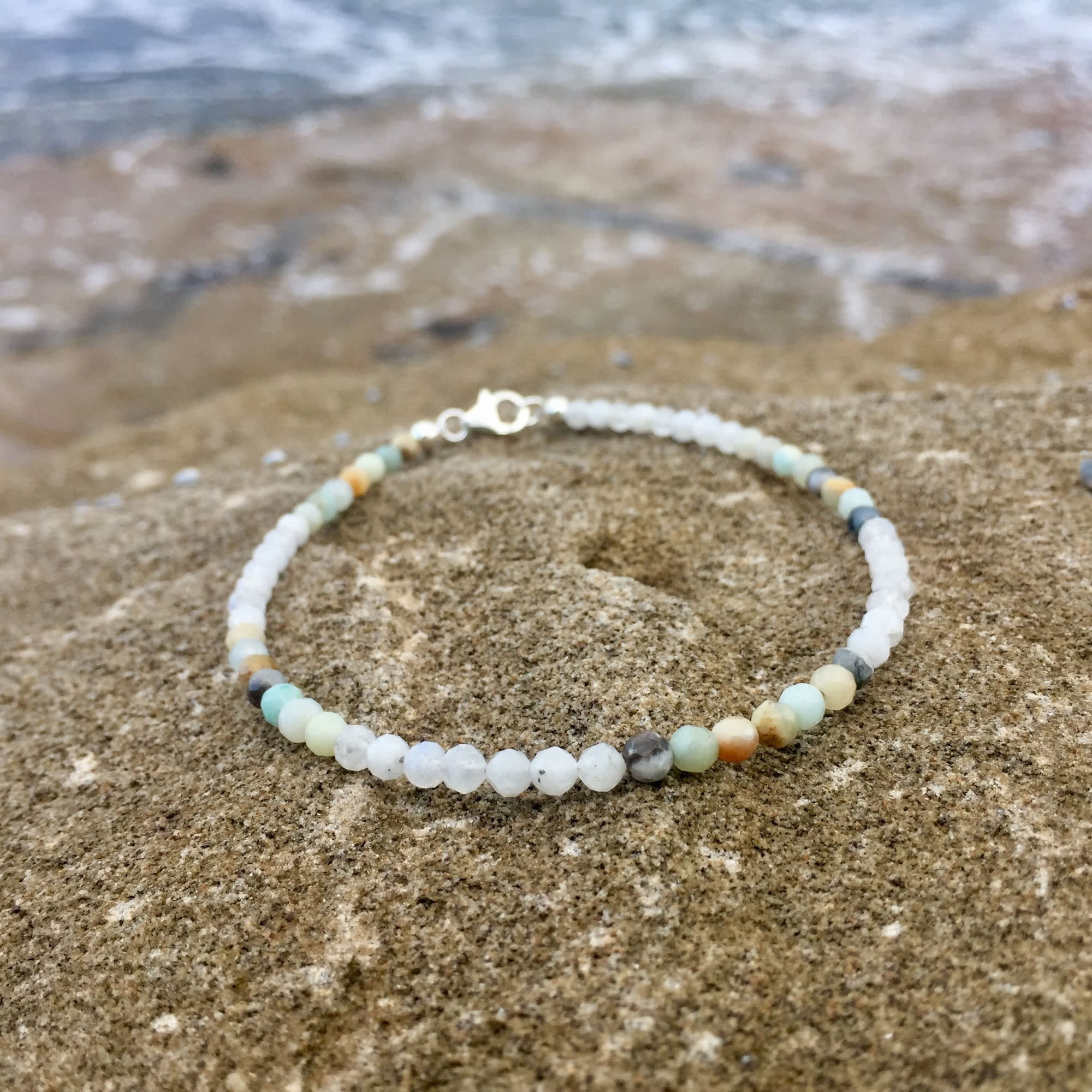 Moonstone and amazonite healing ladies anklet