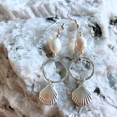 Pearl & sterling silver shell hoop earrings for healing