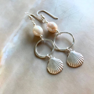 Pearl & sterling silver shell hoop earrings