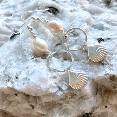 Pearl & sterling silver shell hoop earrings for ladies