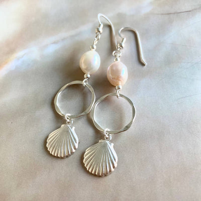 Pearl & sterling silver shell healing hoop earrings