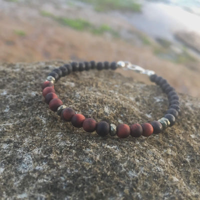 Red Tigers Eye, Pyrite & Lava Stone Bracelet