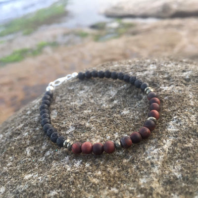 Red Tigers Eye, Pyrite & Lava Stone Bracelet For Essential Oils