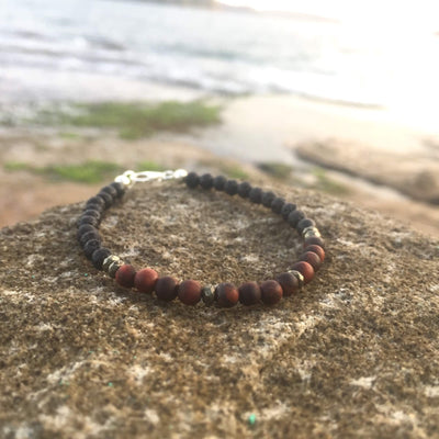 Red Tigers Eye, Pyrite & Lava Stone Diffuser Bracelet