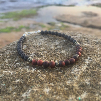 Red Tigers Eye, Pyrite & Lava Stone Essential Oil  Bracelet