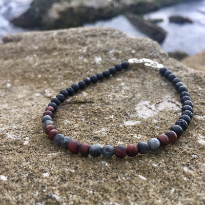 Red Tigers eye & Larvikite motivation & Confidence bracelet for men