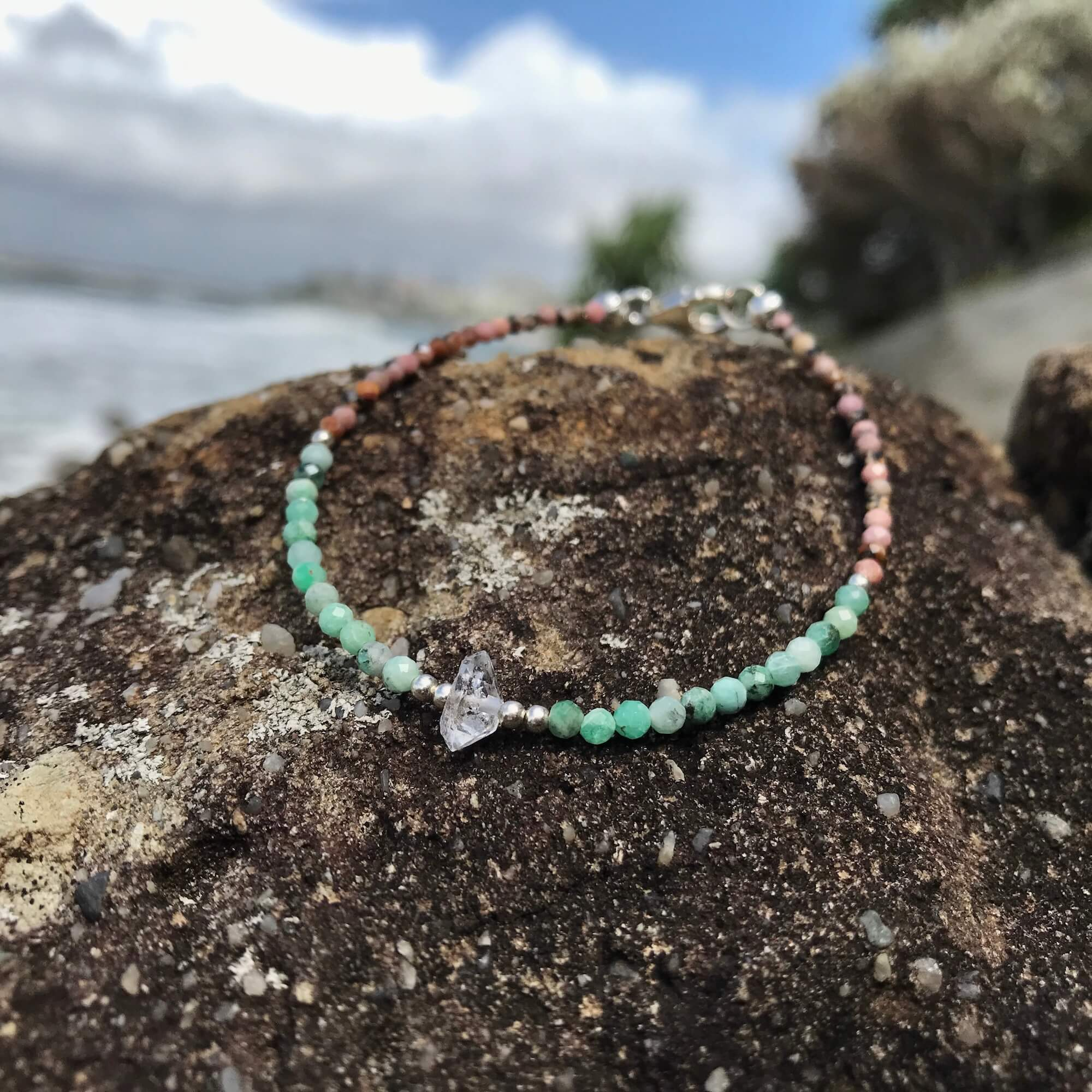 Rhodonite, Emerald & Herkimer Diamond Bracelet for healing