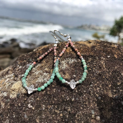 Rhodonite, Emerald & Herkimer Diamond Earrings