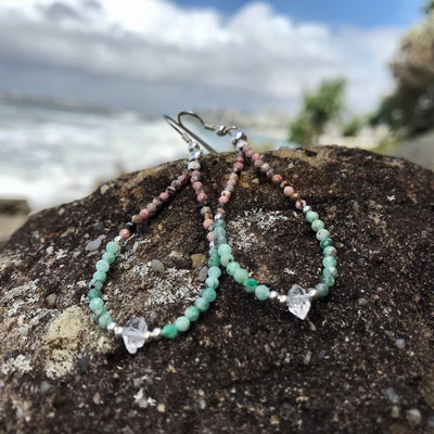 Rhodonite, Emerald & Herkimer Diamond Earrings for women