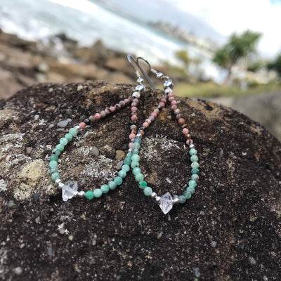 Rhodonite, Emerald & Herkimer Diamond crystal Earrings