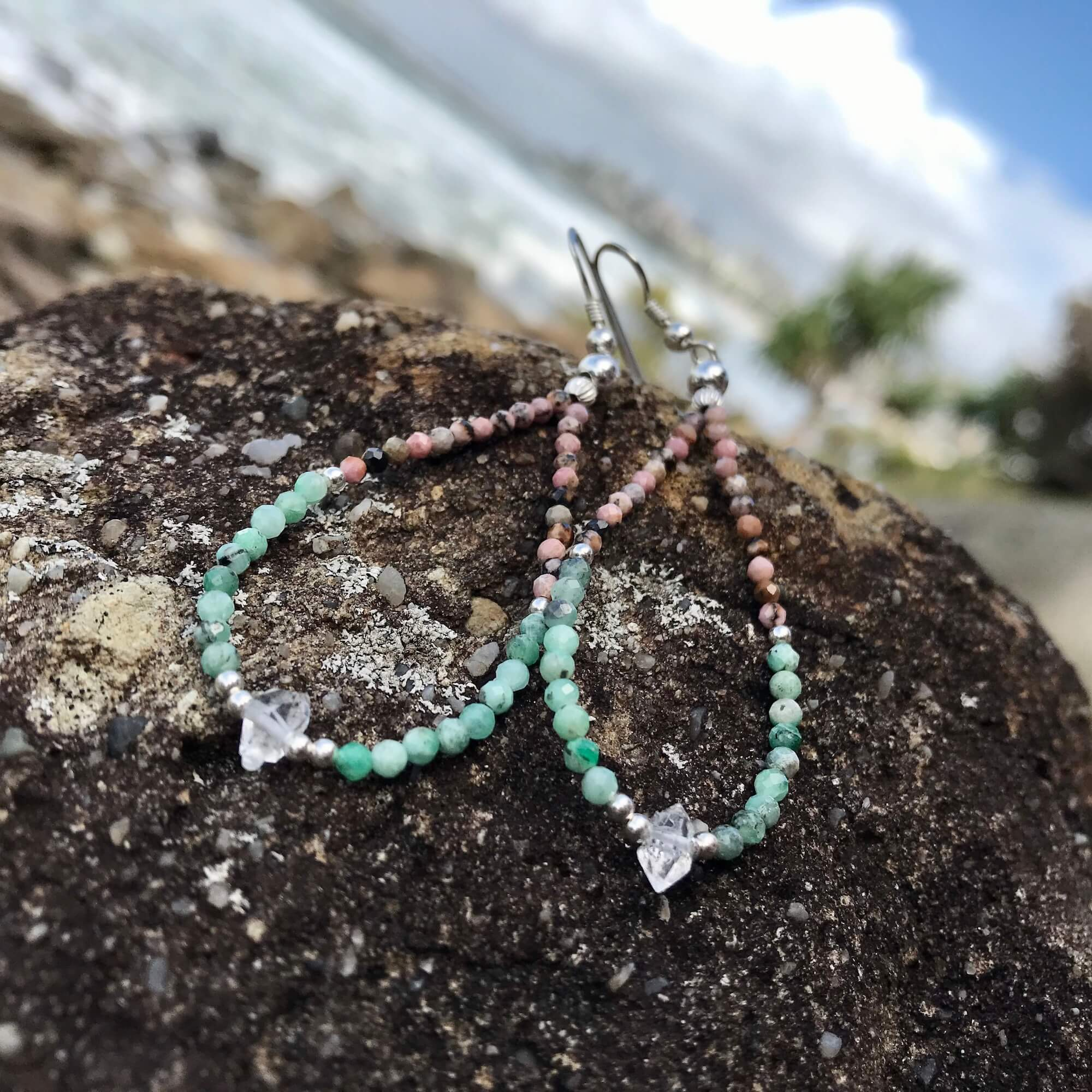 Rhodonite, Emerald & Herkimer Diamond healing Earrings