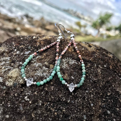 Rhodonite, Emerald & Herkimer Diamond ladies crystal Earrings