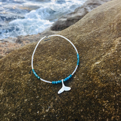 Sterling Silver Whale's Tail Pendant on a Apatite & Moonstone Necklace by House of Aloha Central Coast NSW Australia