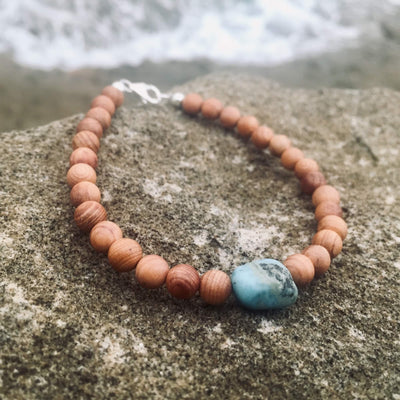 Unisex Larimar & Natural wood Bracelet