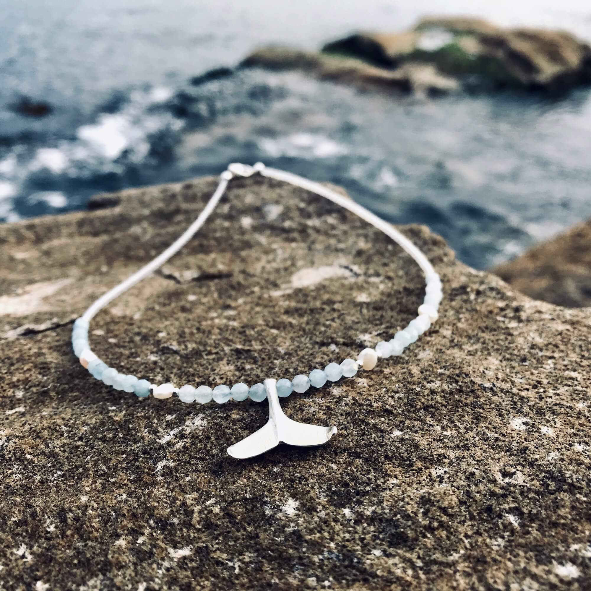 Whales Tail Aquamarine and Pearl Necklace