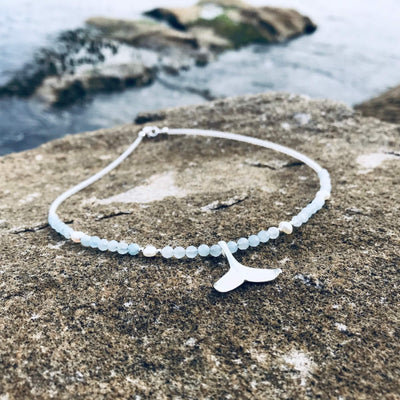 Whales Tail crystal Aquamarine and Pearl Necklace