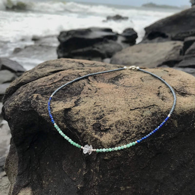 Women's healing healing Lapis Lazuli, Emerald & Herkimer Diamond Necklace