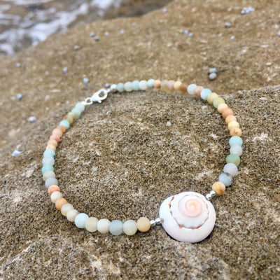 amazonite, sunstone and shell ladies anklet