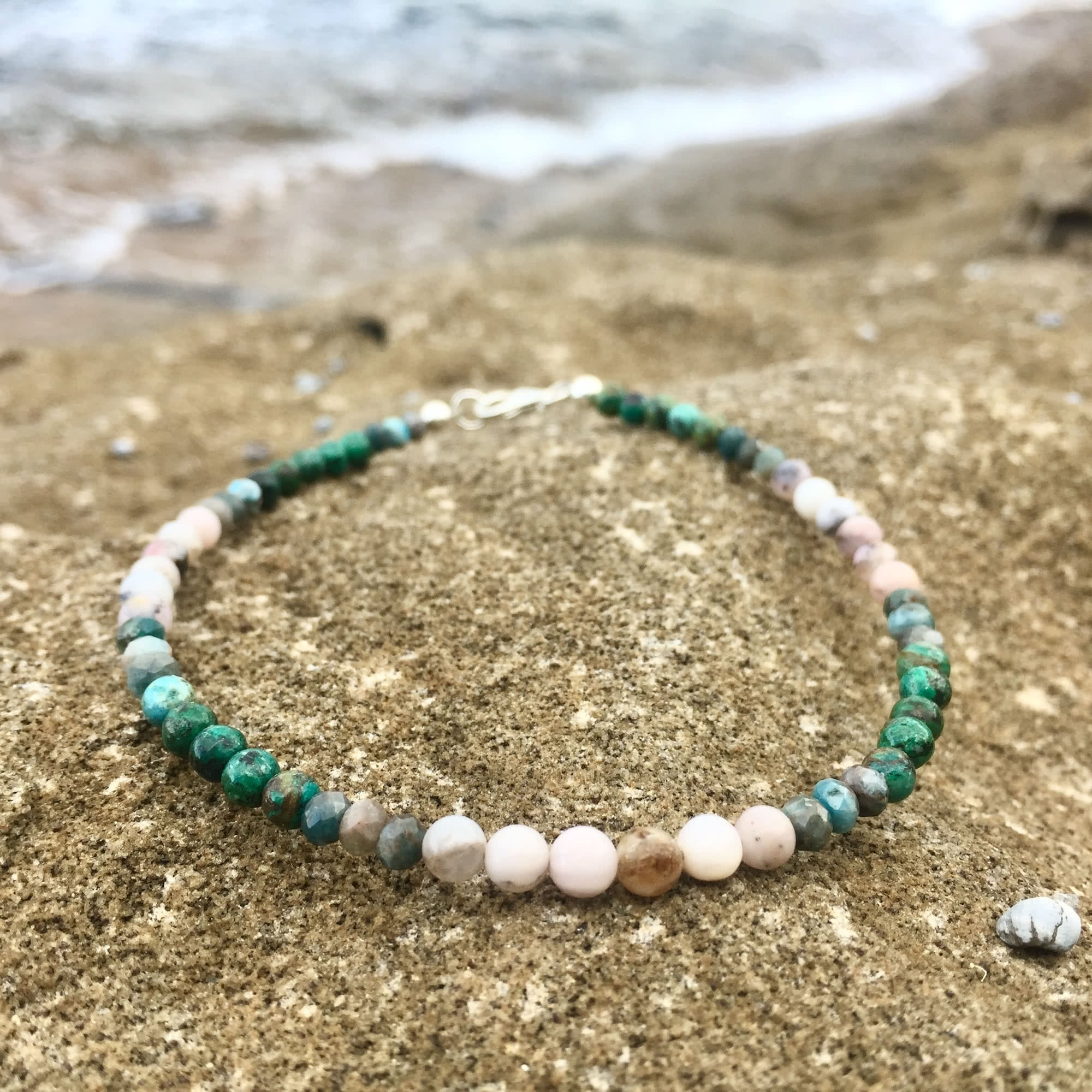 apatite, chrysocolla and pink opal anklet