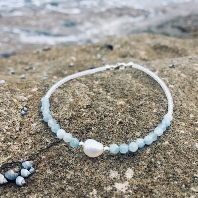 aquamarine and pearl anklet