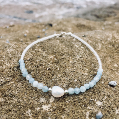 aquamarine and pearl ladies anklet
