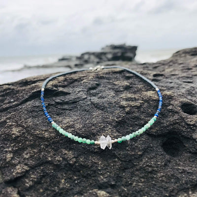crystal Lapis Lazuli, Emerald & Herkimer Diamond Necklace for healing