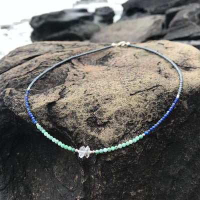 crystal healing Lapis Lazuli, Emerald & Herkimer Diamond Necklace