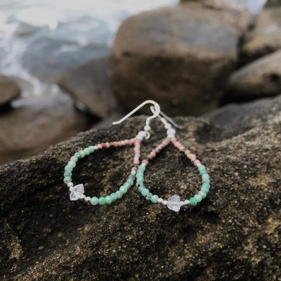 crystal healing Rhodonite, Emerald & Herkimer Diamond earrings