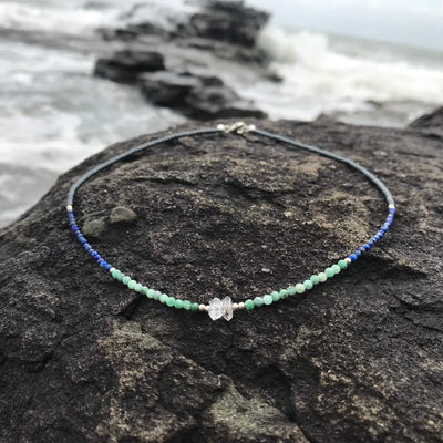 healing Lapis Lazuli, Emerald & Herkimer Diamond Necklace