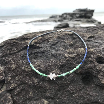 healing Lapis Lazuli, Emerald & Herkimer Diamond Necklace for Women