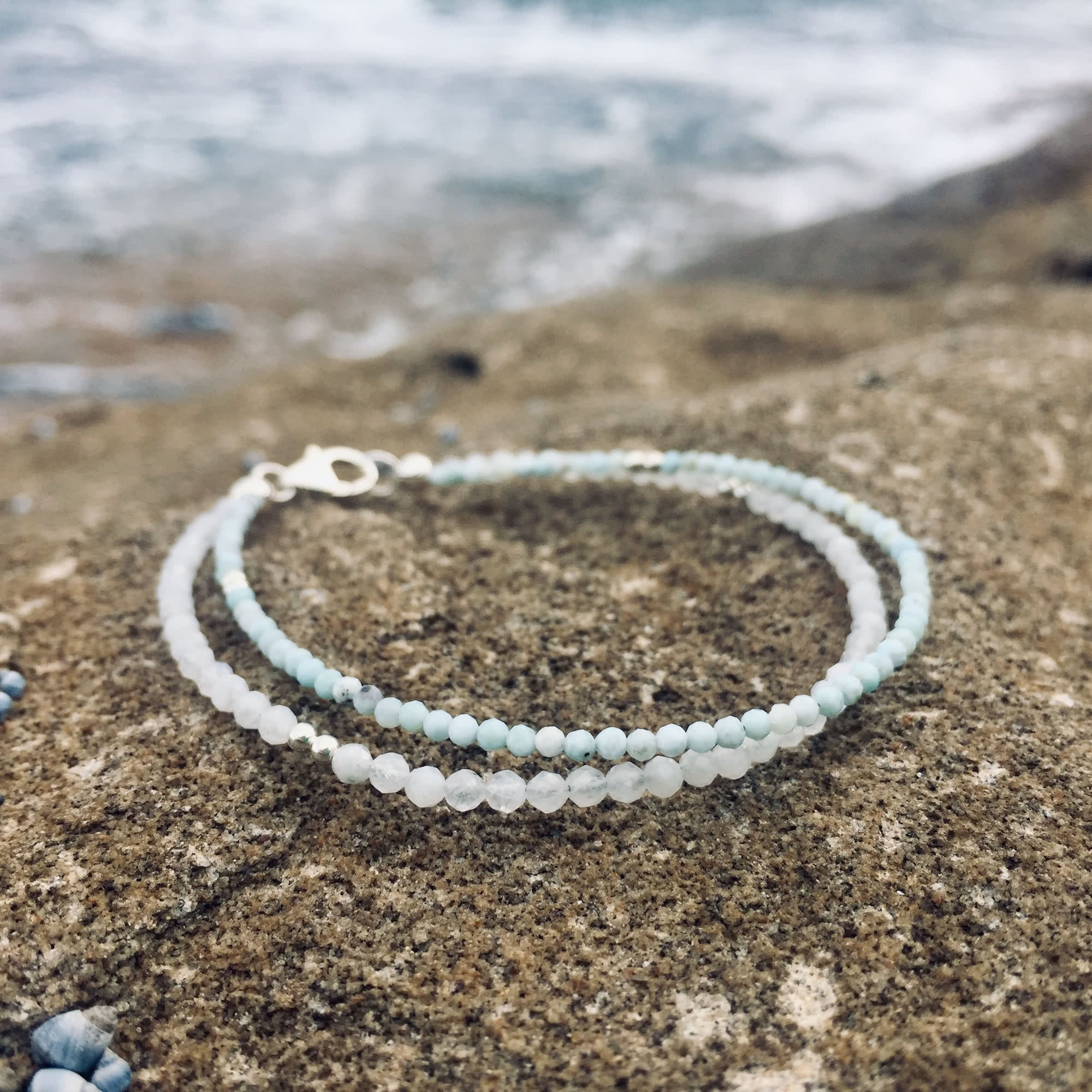 healing Larimar and Moonstone double strand bracelet for ladies