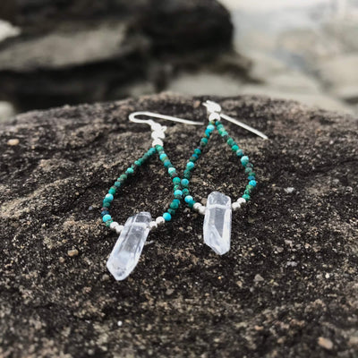 healing crystal Azurite & Clear Quartz Points Earrings