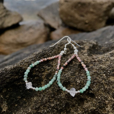 ladies Rhodonite, Emerald & Herkimer Diamond Earrings