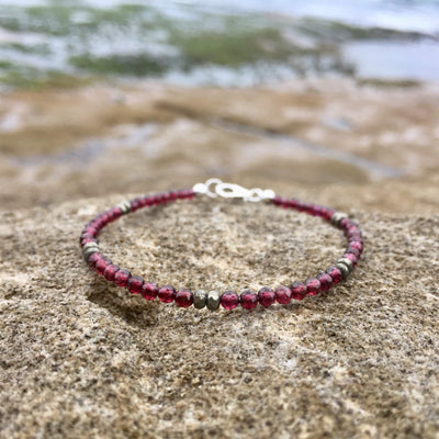 ladies Garnet and Pyrite Bracelet for healing