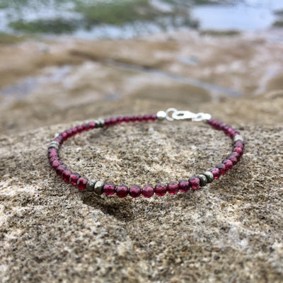ladies Garnet and Pyrite Bracelet for january birthstone