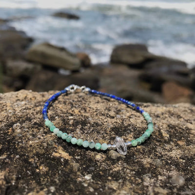 ladies lapis lazuli, Emerald & Herkimer Diamond Bracelet