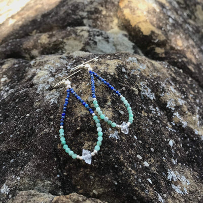 lapis lazuli, Emerald & Herkimer Diamond Earrings for healing