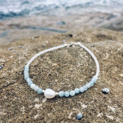 pearl and aquamarine anklet